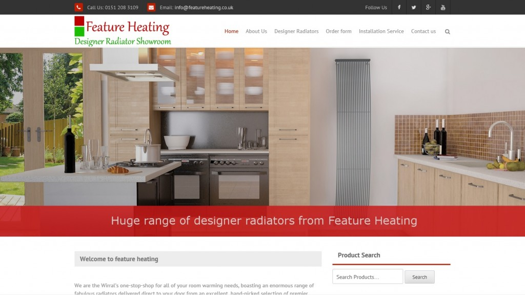 website design for Feature Heating