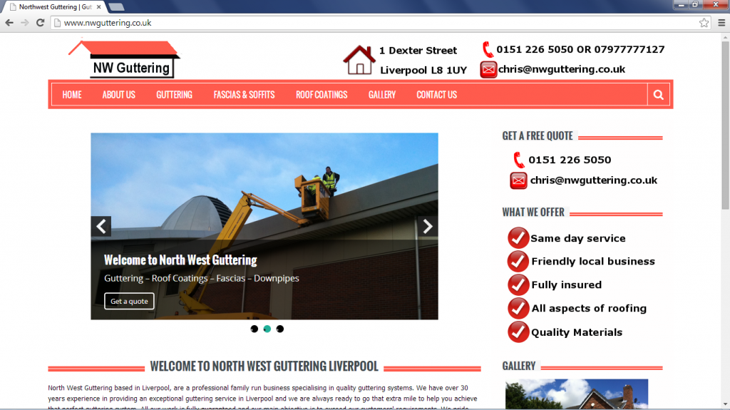 web design for a guttering company