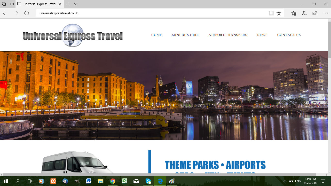 web design for universal express travel in Liverpool