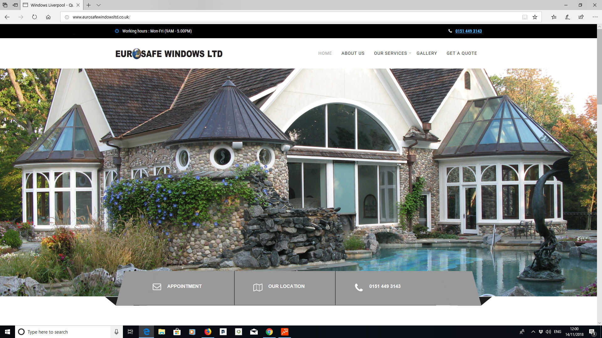 Website we designed for Eurosafe Windows LTD