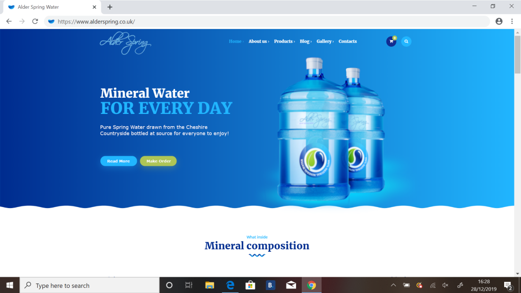 Website design for Alder Spring Water in Cheshire