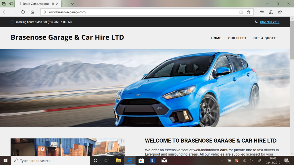 Web design for Brasenose Garage, Liverpool